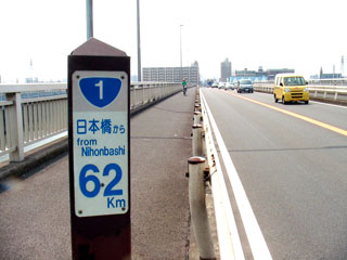 国道1号62kmポスト