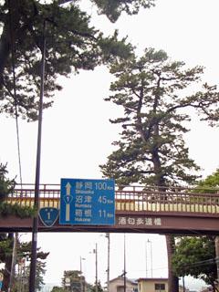 静岡まで100kmの標識