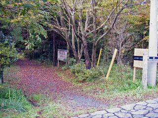 接待茶屋バス停前 山道の入り口