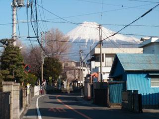 正面に見える富士山
