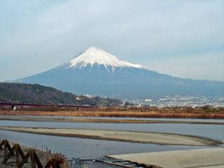富士川西岸から見た富士山