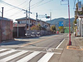 富士川橋手前の左へ入る道